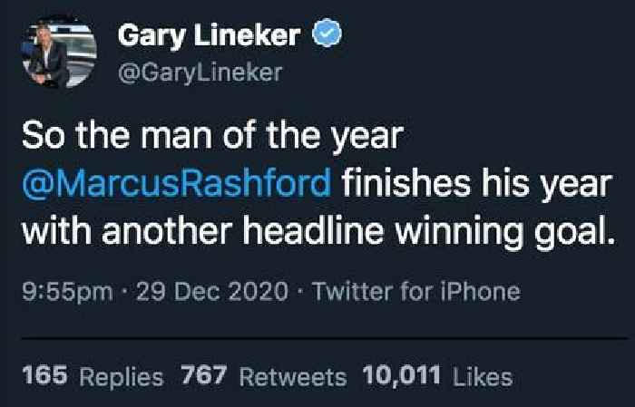 Gary Lineker raves about Marcus Rashford after Man United's 1-0 win over Wolves