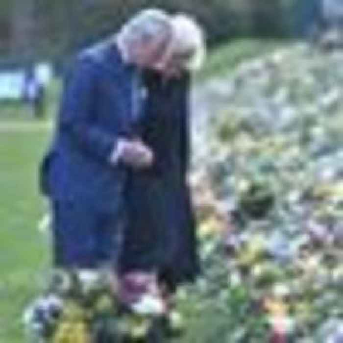 Charles and Camilla visit tributes to Prince Philip in first joint appearance since duke's death