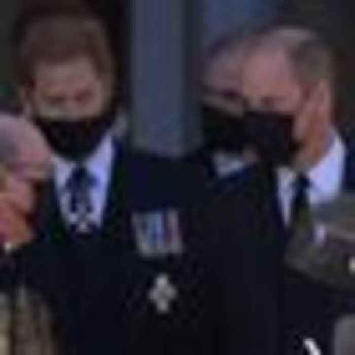 Harry and William seen speaking after Prince Philip's funeral