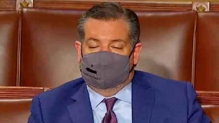 Snooze Cruz: Ted Cruz Caught Taking a Nap During Biden's Speech to Congress (Video)