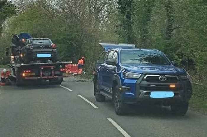 Mini crashes into hedge after being forced off road