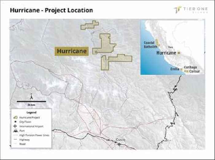 Tier One Silver Options the Hurricane Silver Project in Southeastern Peru