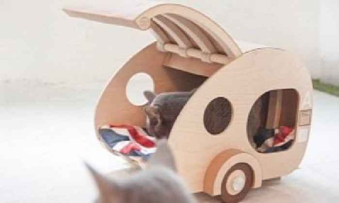 Someone Designed and Built a Wooden Teardrop Camper for Cats