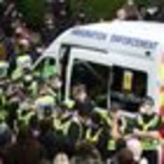 Police and protesters face off as Home Office tries to remove people from property on Eid