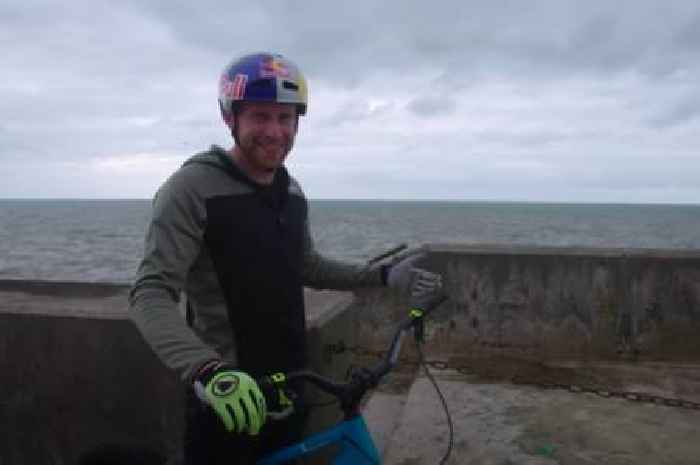 Stunt rider Danny MacAskill breaks a part of Blackpool's famous seafront