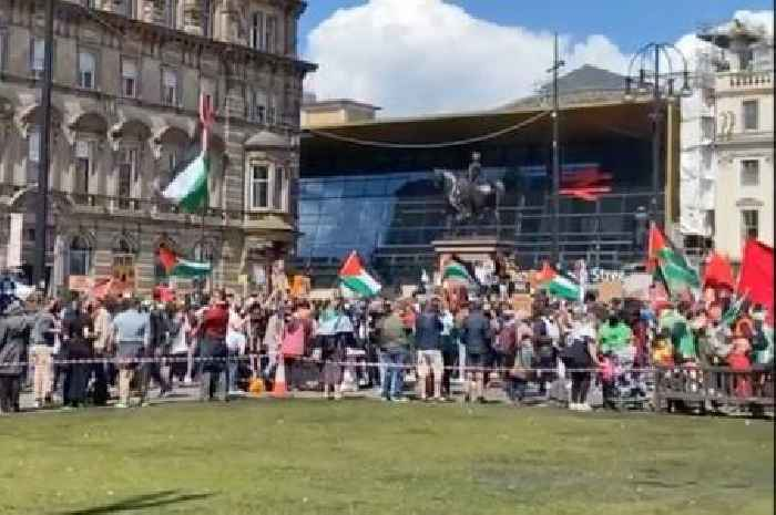 Hundreds of pro-Palestine activists descend on George Square with flags