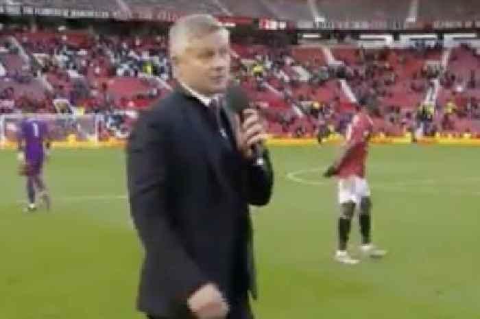 Ole Gunnar Solskjaer addresses Man Utd fans on Old Trafford pitch