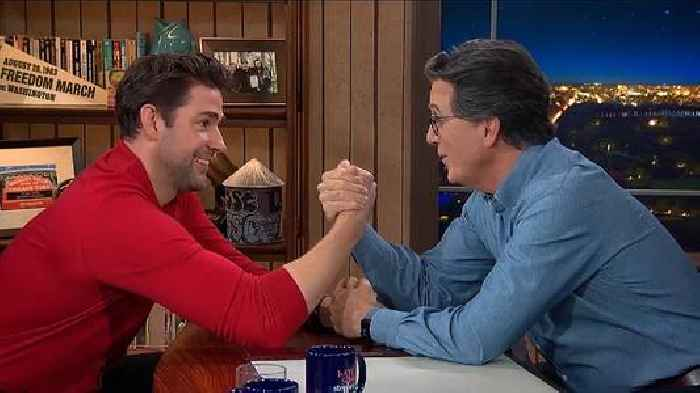 John Krasinski Is Colbert's First Studio Guest Since 2020 and to Celebrate, They Arm Wrestled (Video)
