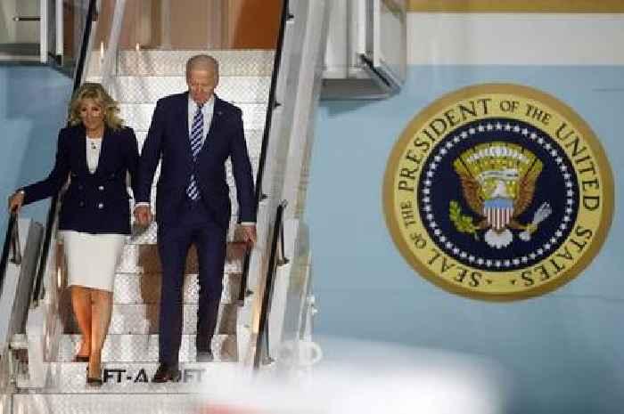 Air Force One flies over Wales as Joe Biden arrives in the UK