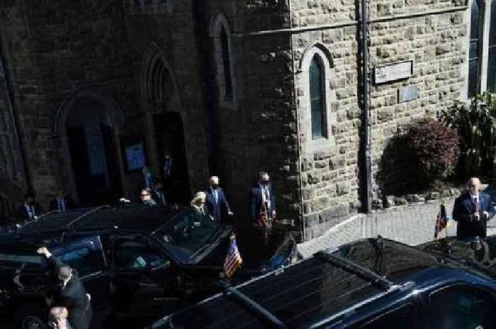 Joe Biden and wife Jill share a kiss after church visit in Cornwall