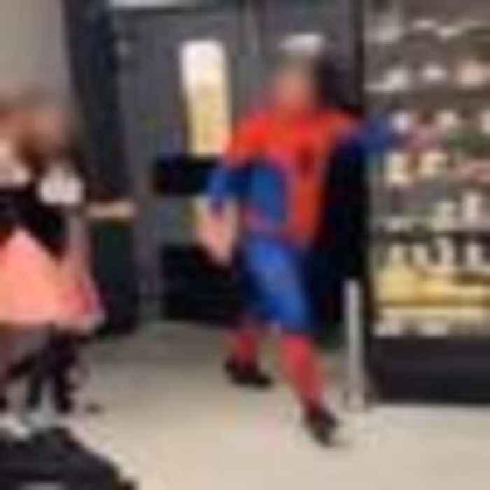 Five arrested after violent supermarket brawl involving man dressed as Spider-Man