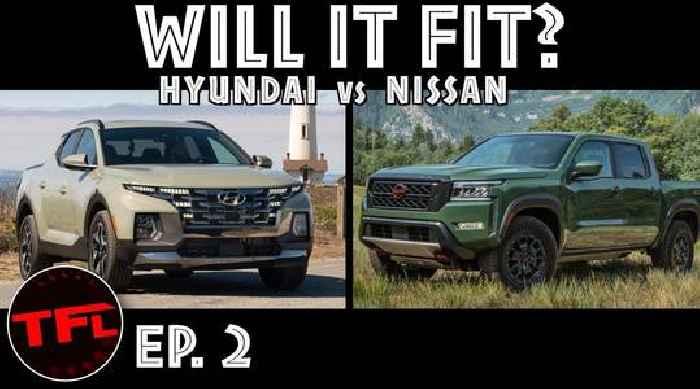 "Pint-Sized Hyundai Santa Cruz, 2022 Nissan Frontier Get Into ""Will It Fit"" Battle"