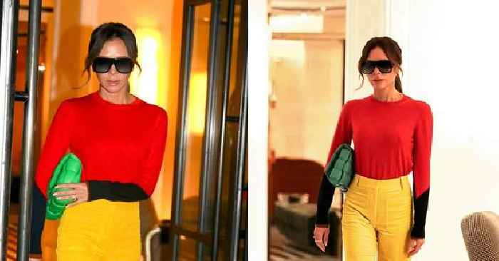 Victoria Beckham Looks Colorfully Cool In Bright Red & Yellow Outfit, Carrying Neon Green Bottega Veneta Cassette Bag — Get The Look