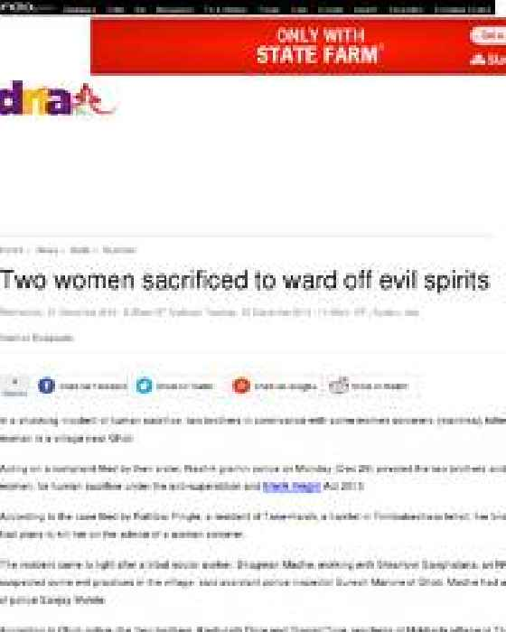 Two Women Sacrificed To Ward Off Evil Spirits One News Page