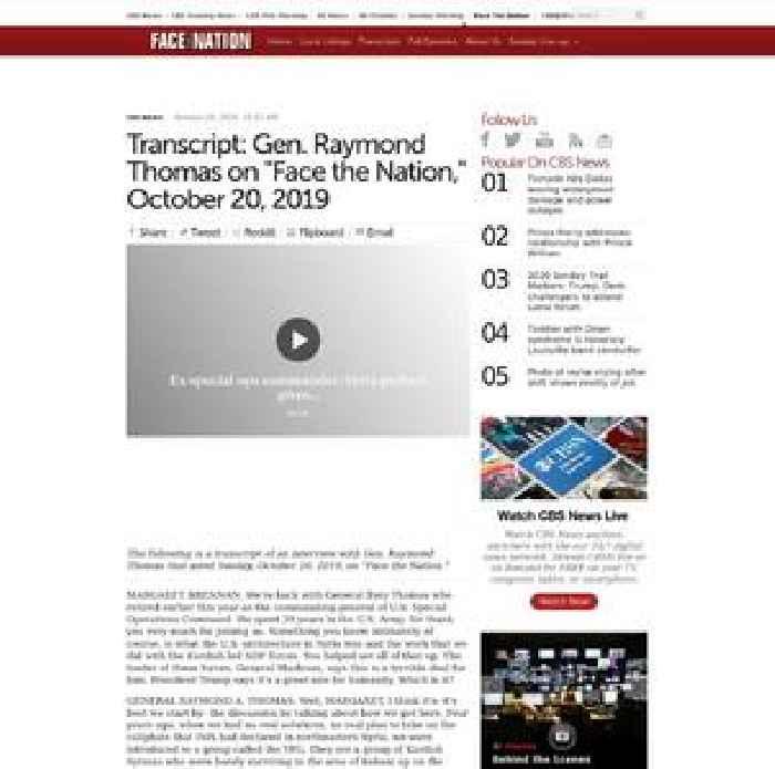 Transcript: Gen. Raymond Thomas on