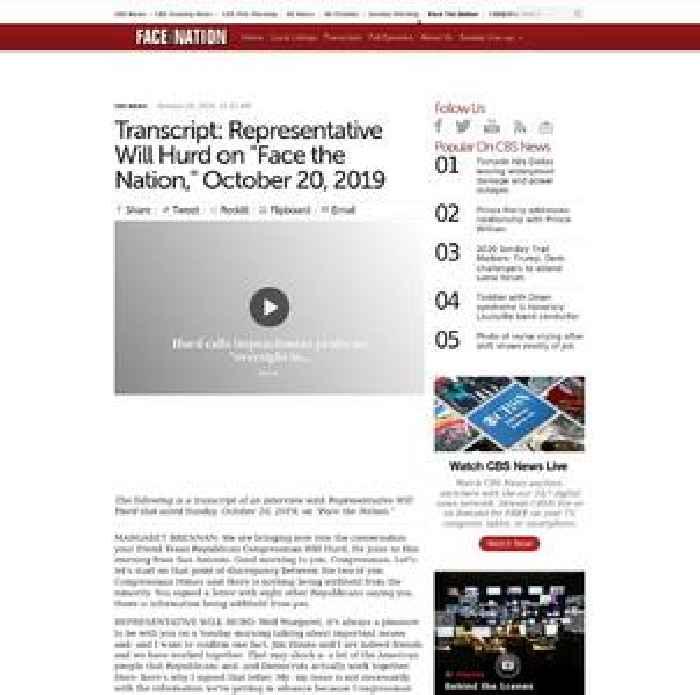 Transcript: Representative Will Hurd on