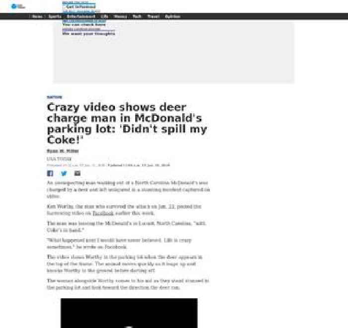 Crazy video shows deer charge man in McDonald's parking lot: 'Didn't spill my Coke!'