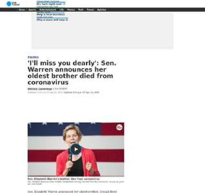'I'll miss you dearly': Sen. Warren announces her oldest brother died from coronavirus