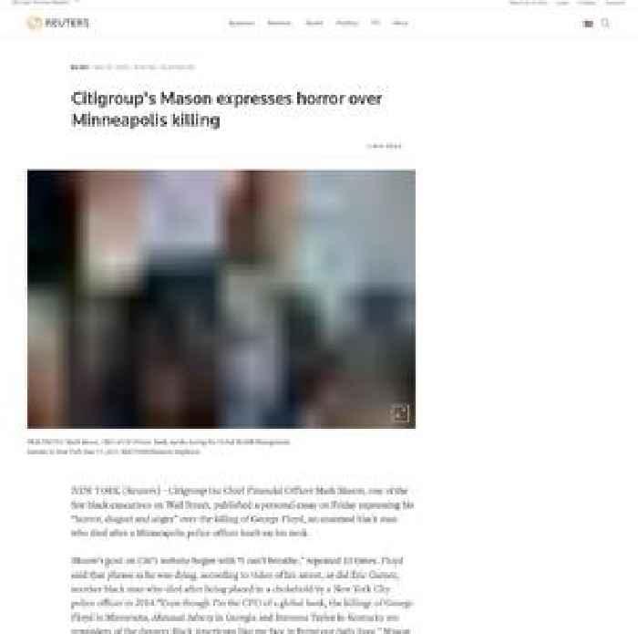Citigroup's Mason expresses horror over Minneapolis killing