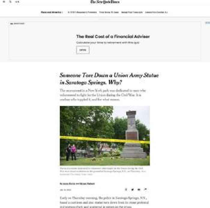 Someone Tore Down a Union Army Statue in Saratoga Springs. Why?