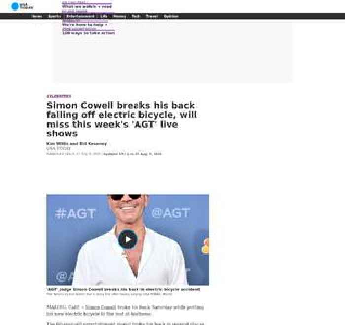 Simon Cowell of 'America's Got Talent' breaks his back falling off electric bicycle