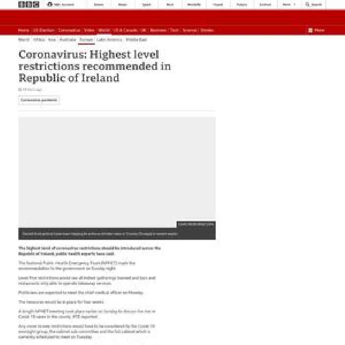 Coronavirus: Highest level restrictions recommended in Republic of Ireland