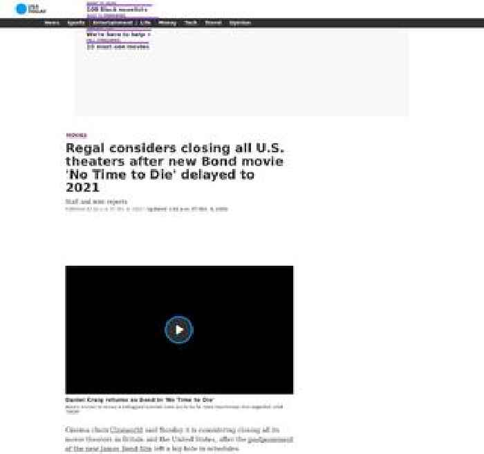 Regal considers closing all U.S. theaters after new Bond movie 'No Time to Die' delayed to 2021