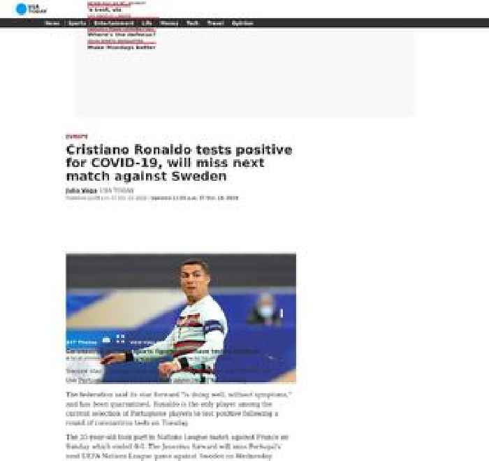 Cristiano Ronaldo tests positive for COVID-19, will miss next match against Sweden