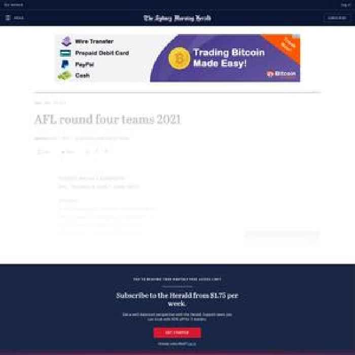 AFL round four teams 2021
