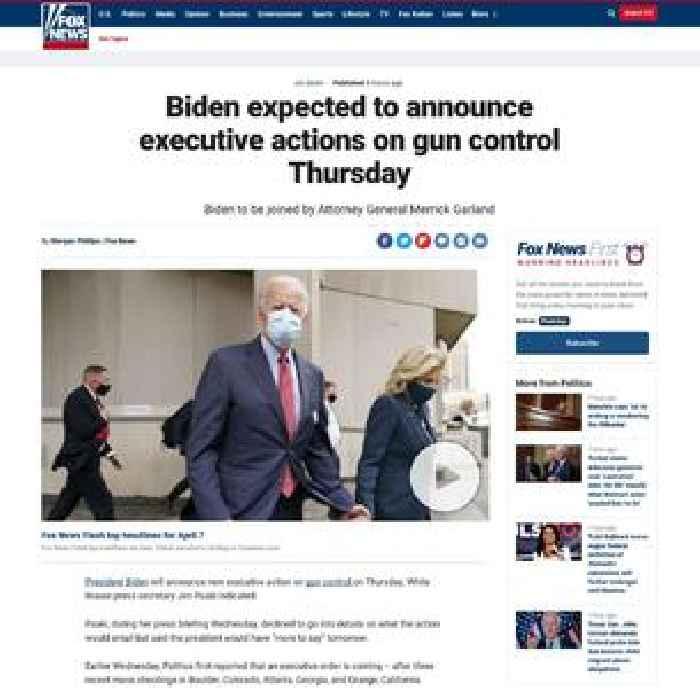 Biden expected to announce executive actions on gun control Thursday