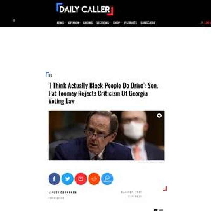 'I Think Actually Black People Do Drive': Sen. Pat Toomey Rejects Criticism Of Georgia Voting Law