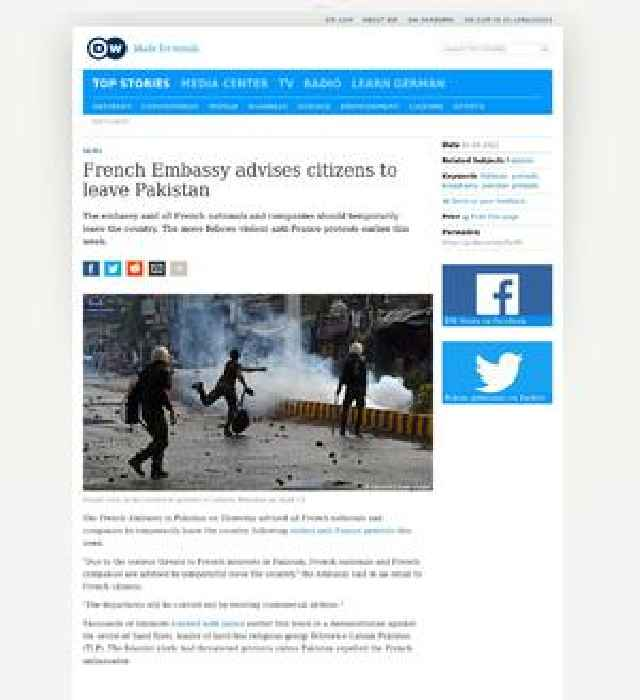 French embassy advises citizens to leave Pakistan