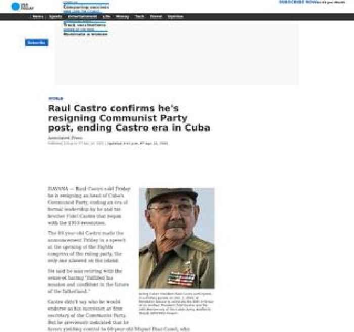 Raul Castro confirms he's resigning Communist Party post, ending Castro era in Cuba