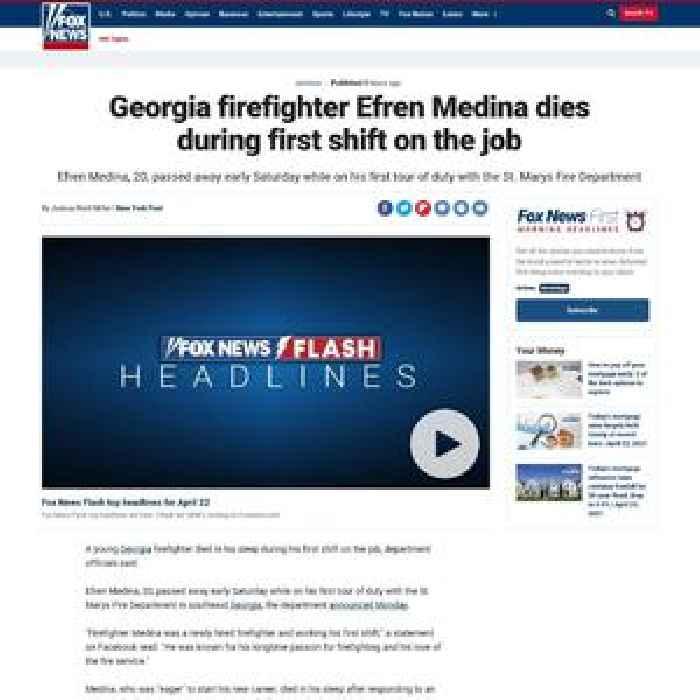 Georgia firefighter Efren Medina dies during first shift on the job