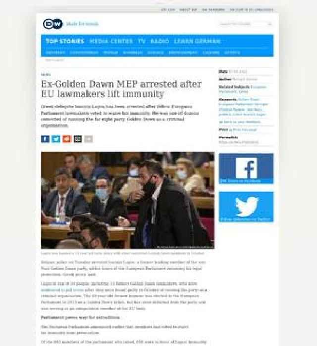 Golden Dawn MEP arrested after EU lamakers lift immunity