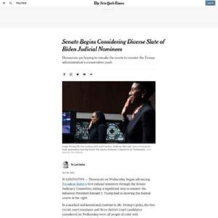 Senate Begins Considering Diverse Slate of Biden Judicial Nominees