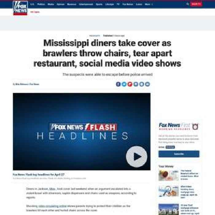 Mississippi diners take cover as brawlers throw chairs, tear apart restaurant, social media video shows
