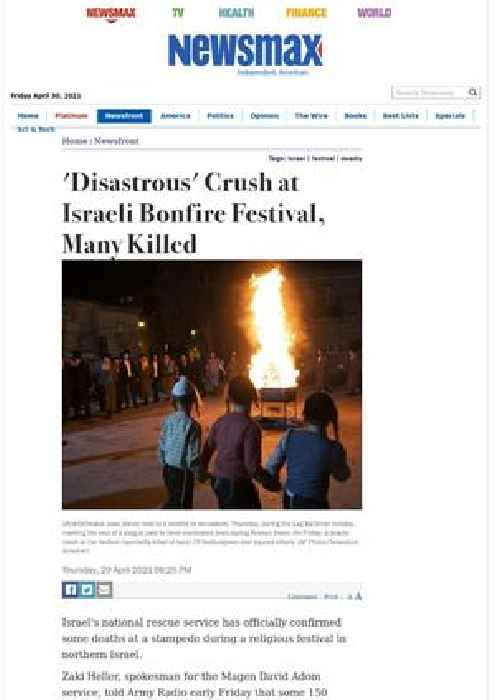 'Disastrous' Crush at Israeli Bonfire Festival, 15 Reported Killed