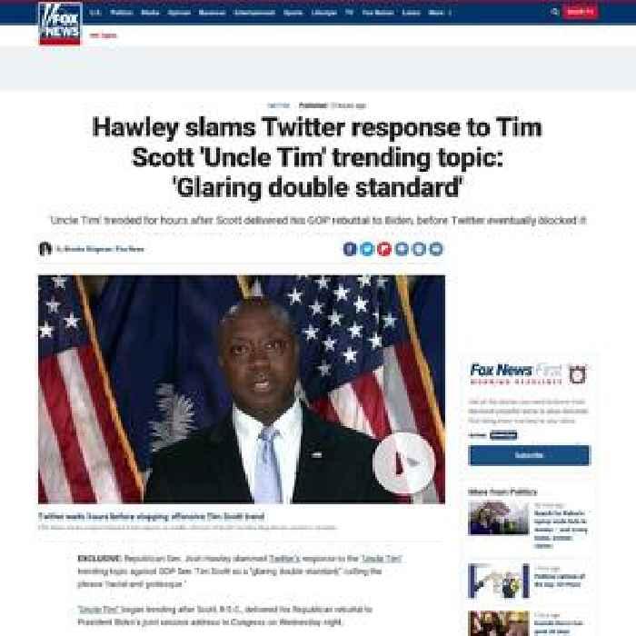 Hawley slams Twitter response to Tim Scott 'Uncle Tim' trending topic: 'Glaring double standard'
