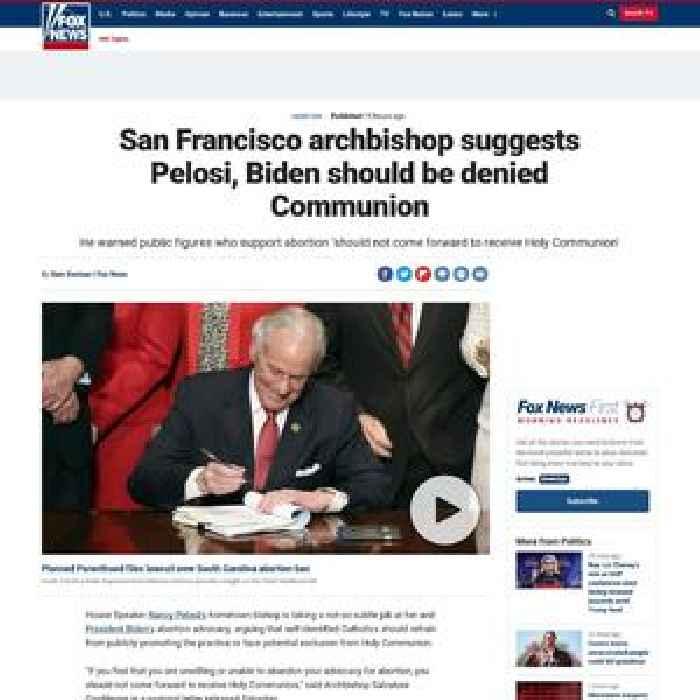San Francisco archbishop suggests Pelosi, Biden be denied Communion