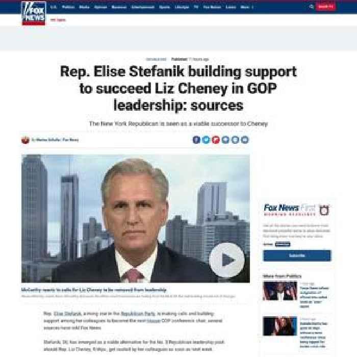 Rep. Elise Stefanik building support to succeed Liz Cheney in GOP leadership: sources