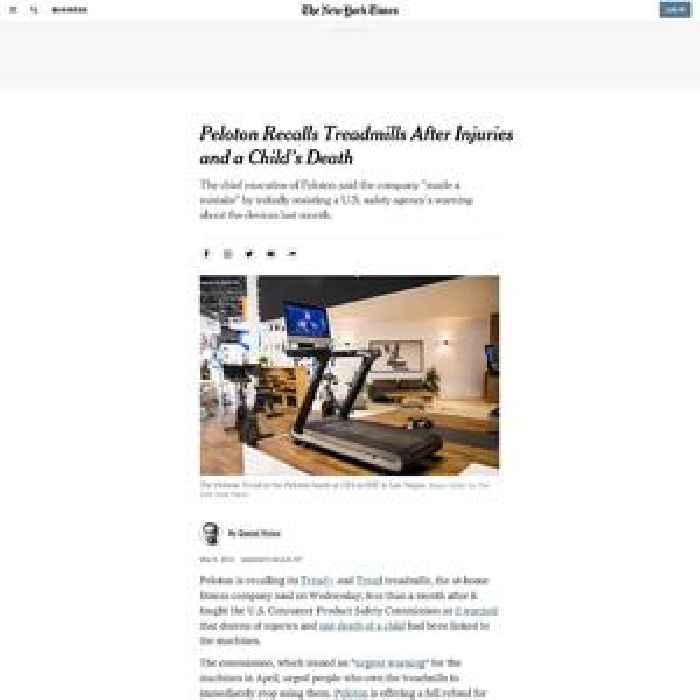Peloton Recalls Treadmills After Safety Warnings