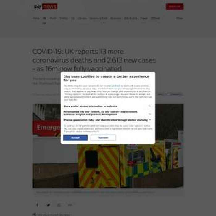 UK reports 13 more COVID deaths and 2,613 new cases - as 16m now fully vaccinated