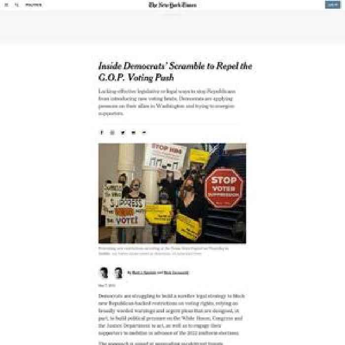 Inside Democrats' Scramble to Resist G.O.P. Voting Laws