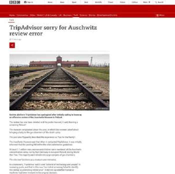 TripAdvisor 'sorry' for offensive Auschwitz review