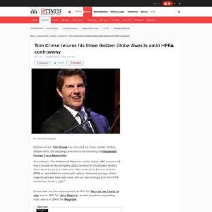 Tom Cruise returns his Golden Globe Awards