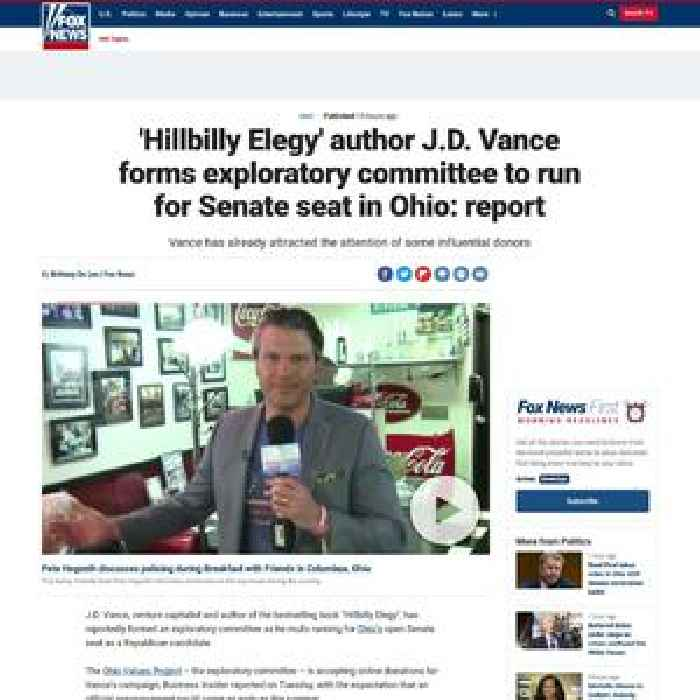 'Hillbilly Elegy' author J.D. Vance forms exploratory committee to run for Senate seat in Ohio: report