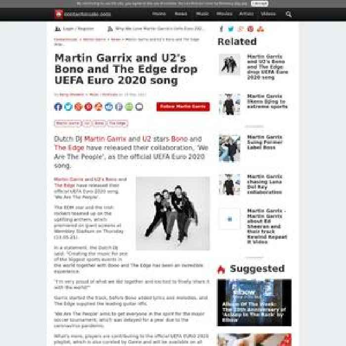 Martin Garrix and U2's Bono and The Edge drop UEFA Euro 2020 song
