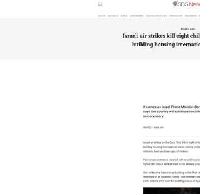 Israeli air strikes kill eight children and flatten Gaza building housing international media outlets