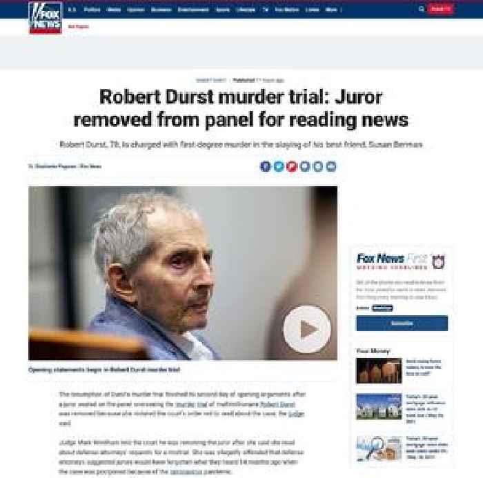 Robert Durst murder trial: Juror removed from panel for reading news